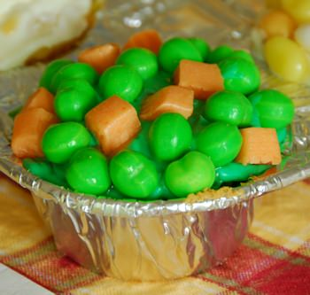 peas and carrots cupcake