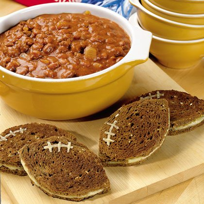 Pumpkin Chili with Grilled Cheese Footballs