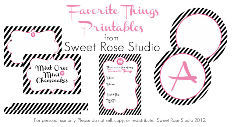 My Favorite Things Party Printable Decorations