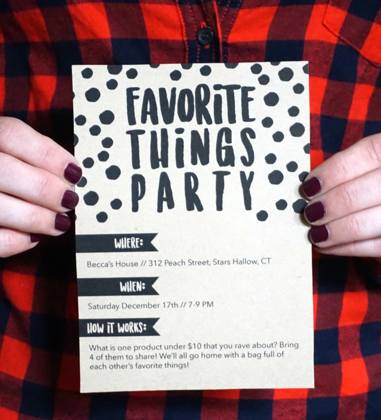 Free Favorite Things Party Invitations and Tags
