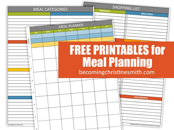 Meal Planning Printables  Menu Planner Template Free