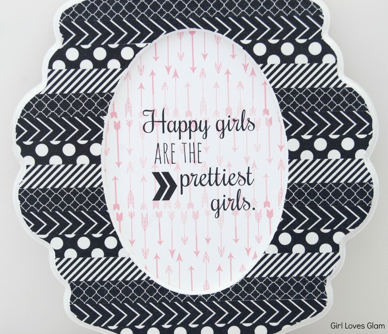 Black and white pattern picture frame happy girl printable