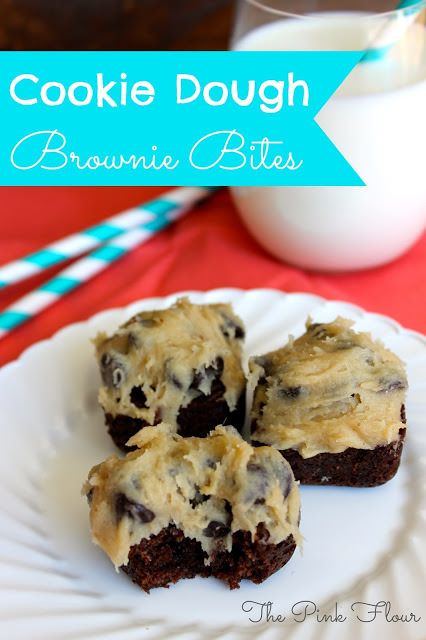 Cookie Dough Brownie Bites - cookie dough that is safe to eat combined with brownies www.thepinkflour.com
