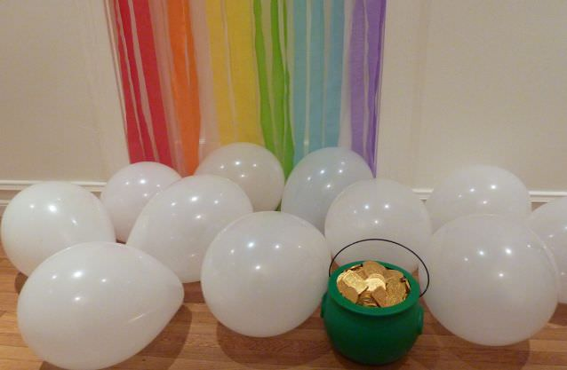 End of the Rainbow Door with Cloud Balloons and a Pot of Gold