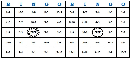 Superb image throughout printable multiplication bingo
