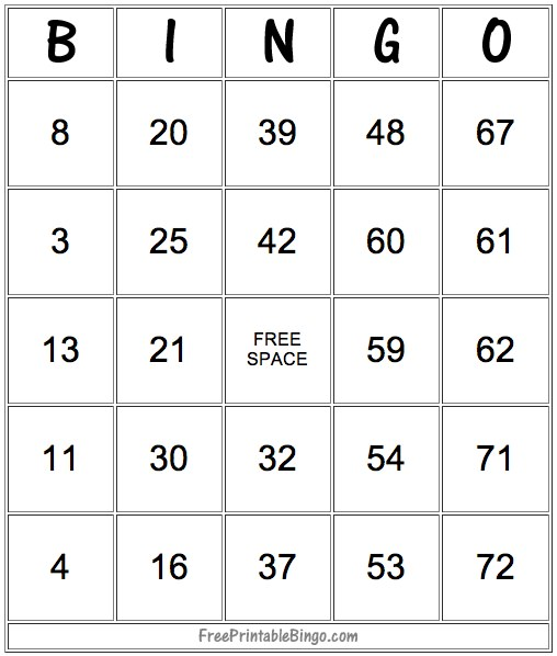 Number Bingo Card Template