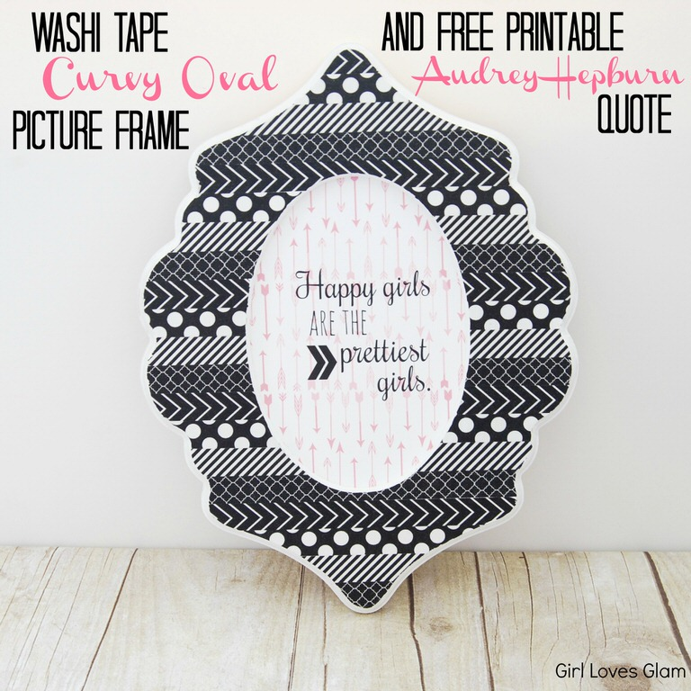 Washi Tape Curvy Oval Picture Frame and Free Printable Audrey Hepburn Quote