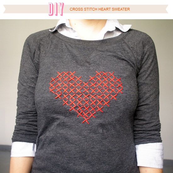 Printable Cross-Stitch Heart Sweater