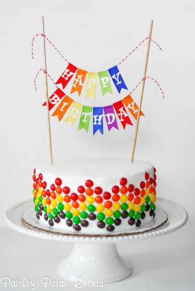 Skittles Happy Birthday Cake