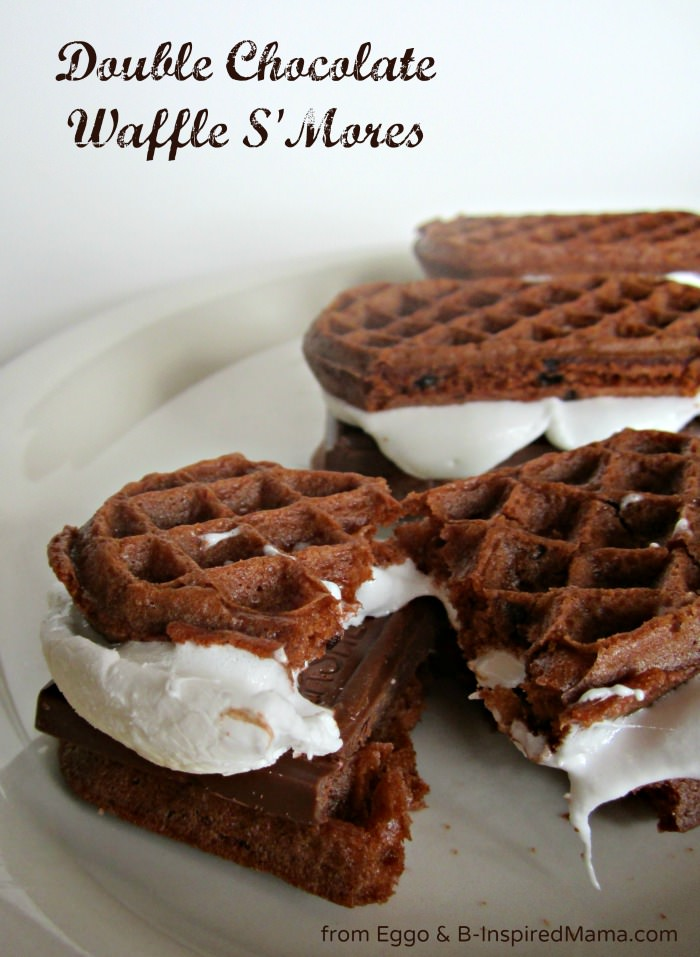 Double Chocolate Waffle S'Mores Recipe with Eggo at B-InspiredMama