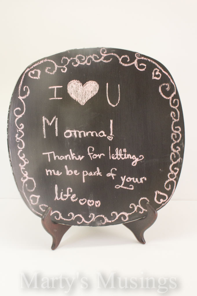 Mother's Day Crafts with Glass Chalkboard Paint from Marty's Musings-4