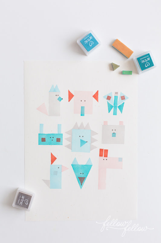 Geometric Stamp Animals