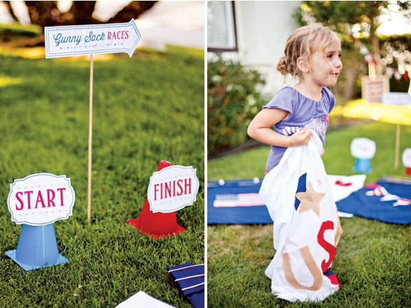 DIY Patriotic Gunny Sack Race