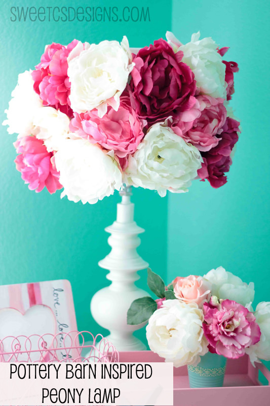 22 pretty ways to makeover lamp shades tip junkie peony lampshade lamps add some color and life your your lampshade with peonies from this pottery barn hack gorgeous but simple to do this tutorial aloadofball Images