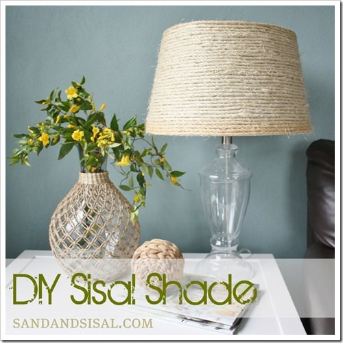 22 pretty ways to makeover lamp shades tip junkie sisal lampshade diy lamps this post features a beachy chic lampshade diy project all you need is some sisal lampshade and glue aloadofball Choice Image