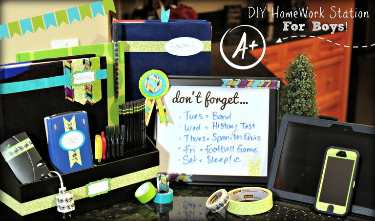 Easy High School Homework Station for Boys with Scotch Tape!
