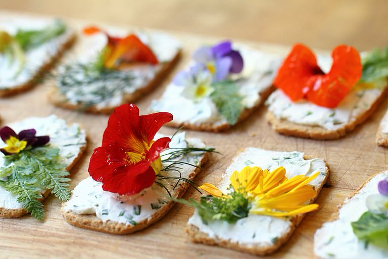 Edible Flower Canapes