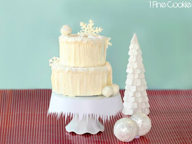 Winter wonderland snowy cake by 1 Fine Cookie-jpg