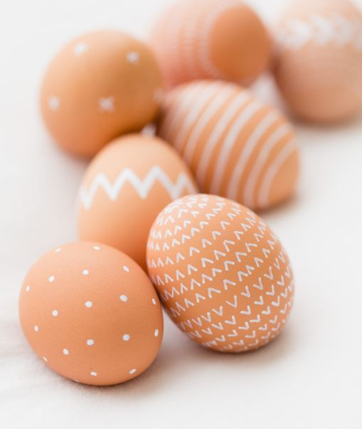 Natural Brown Easter Eggs with White Patterns Drawn on with White Pen
