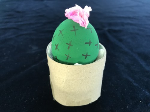 Painted Eggs A Flowering Cactus