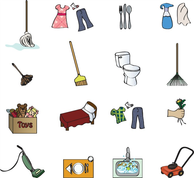 icons for a chore chart displaying cleaning and chore concepts