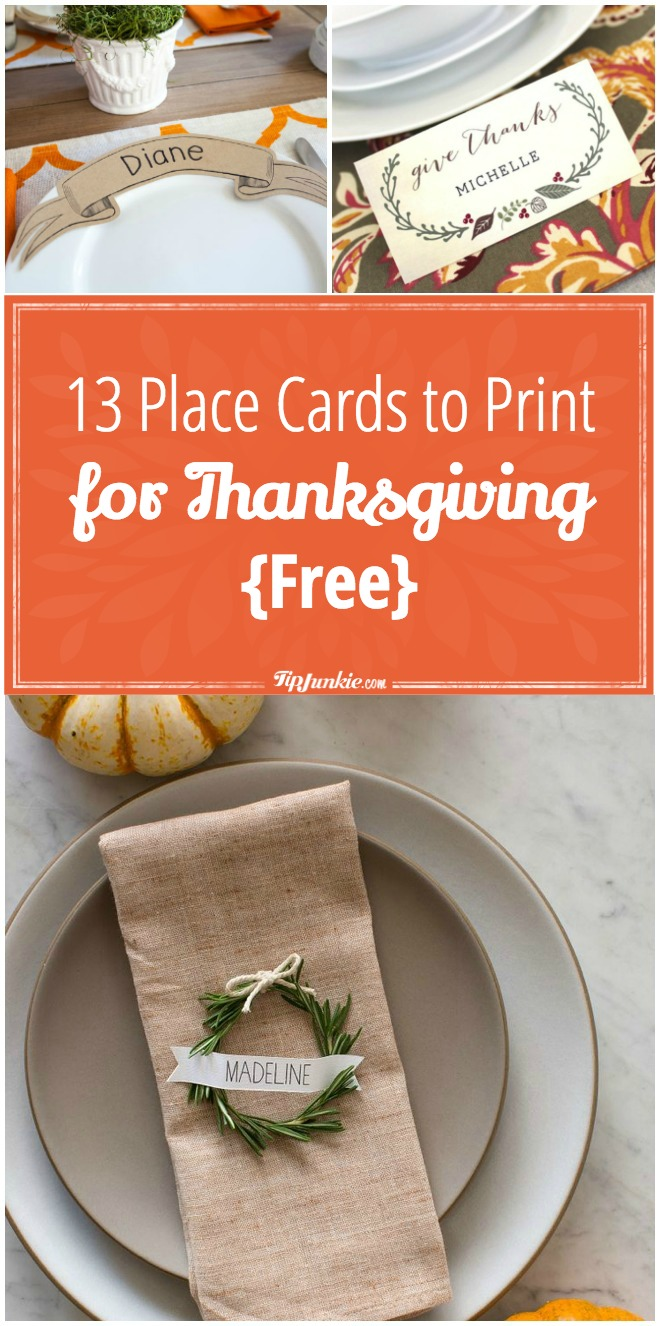 14 Place Cards to Print for Thanksgiving free