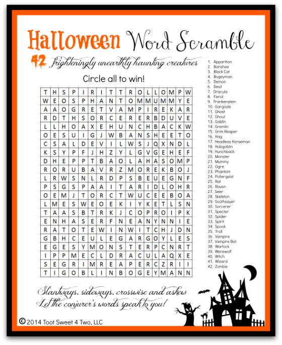 Gargantuan image within free printable halloween games for adults