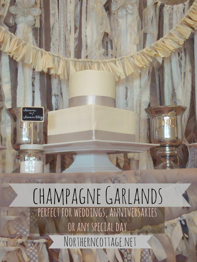 Champagne Garlands – perfect for weddings or any other special day  {Northern Cottage} -jpg