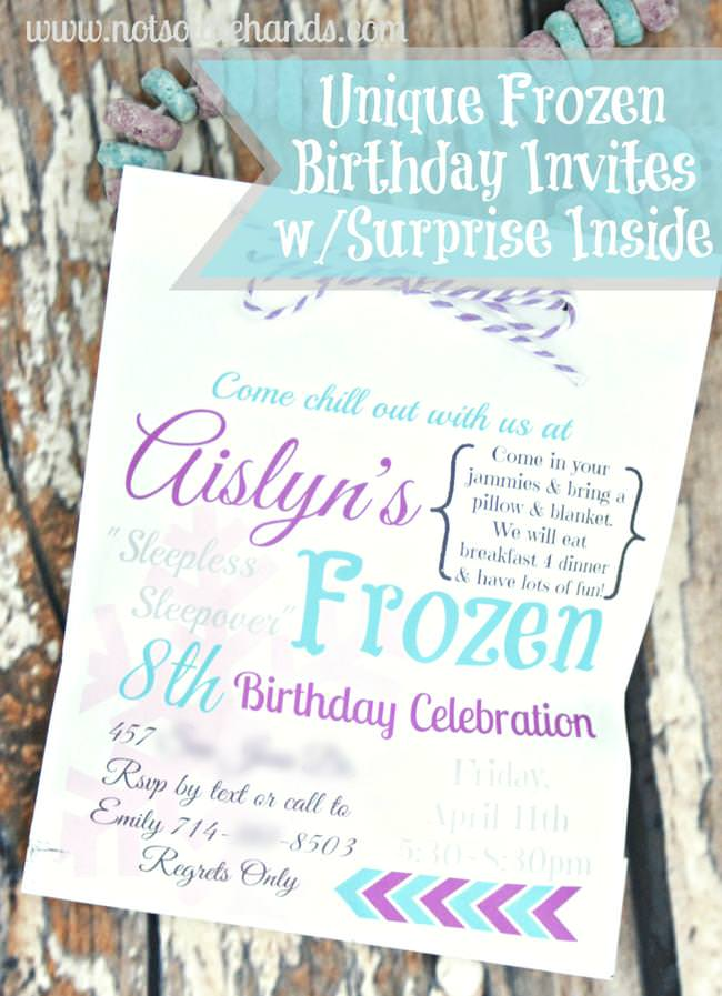 Unique frozen birthday party invites with treat inside tip junkie unique frozen birthday party invites with treat inside filmwisefo