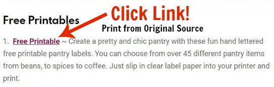 Click Link for Free Printables