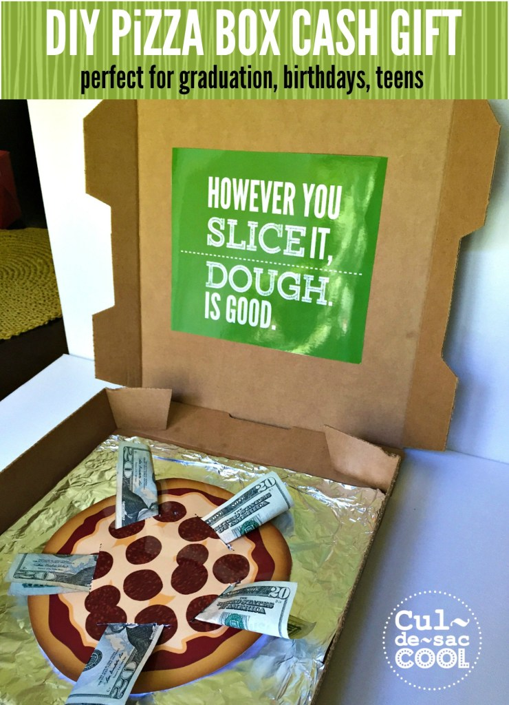 DIY Pizza Box Cash Gift for Birthday and Graduation