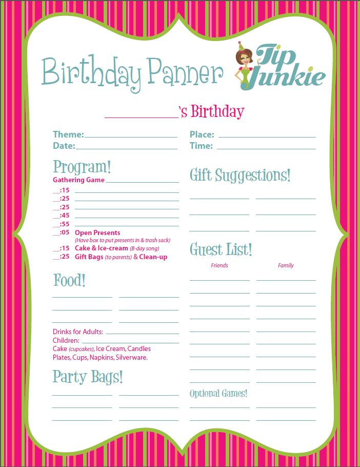 Free Birthday Planner Worksheet From Tip Junkie Full Image EHprint