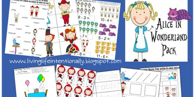 free alice in wonderland learning pack