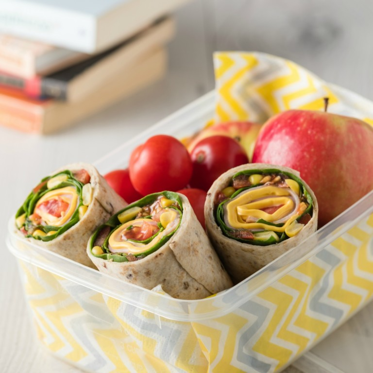 Easy School Lunch Ideas Turkey Wrap with Apple