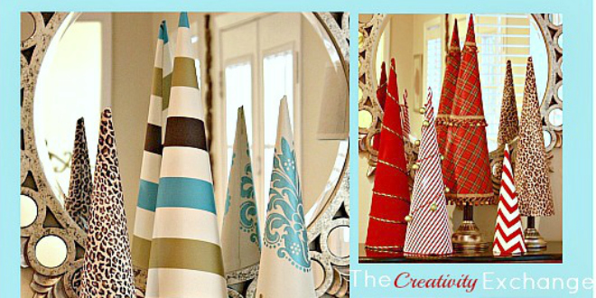 Easy Fabric Covered Poster Board Christmas Tree Cones