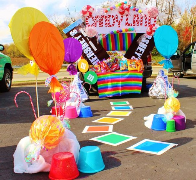 Car decorated in a candyland theme for Halloween trunk or treat