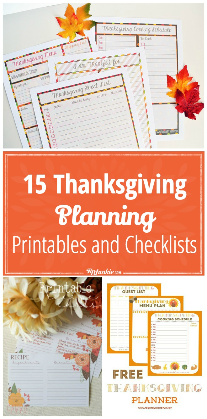 15 Thanksgiving Planning Printables and Checklists