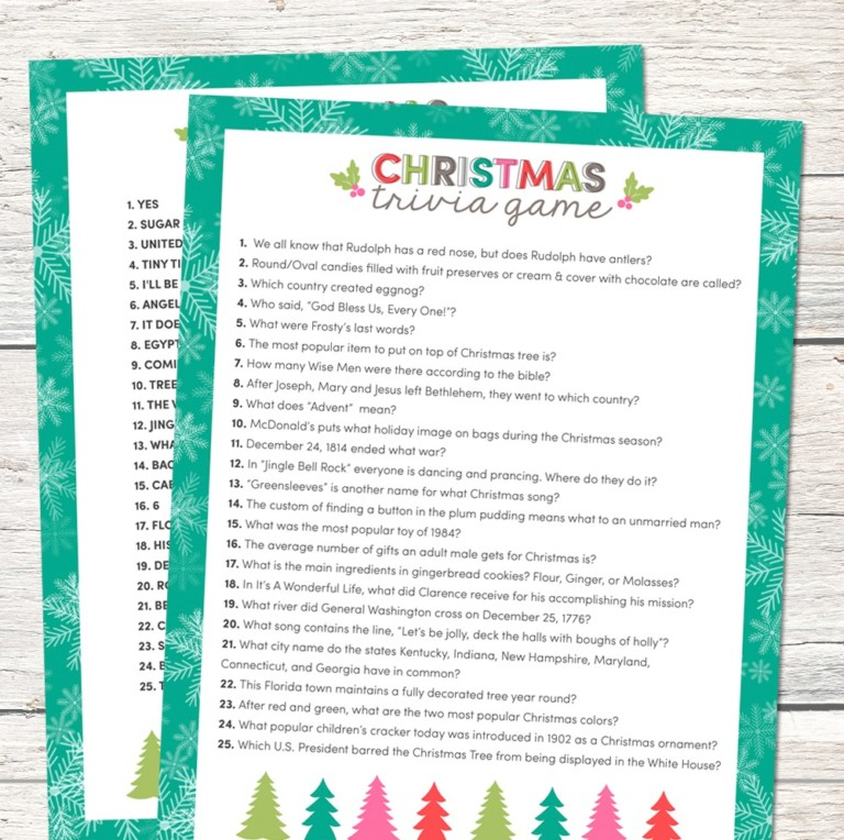 trivia free printable christmas game