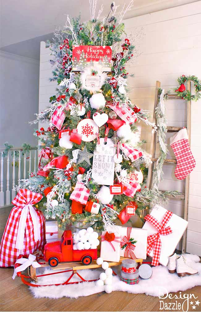 mrs claus christmas tree a fun red plaid christmas tree with touches of twigs holly and snowflakes festive and fun - North Pole Christmas Decorations