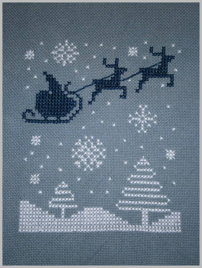 santa and reindeer cross stitch pattern