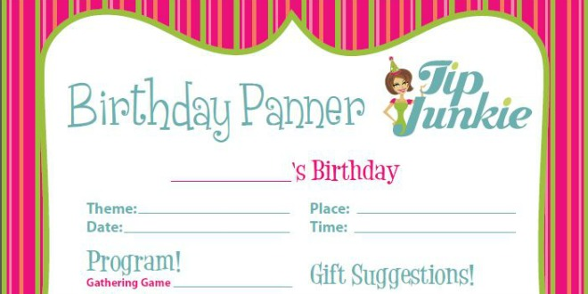 Birthday Party Planner Printable