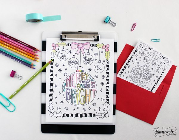 Merry & Bright Coloring Page