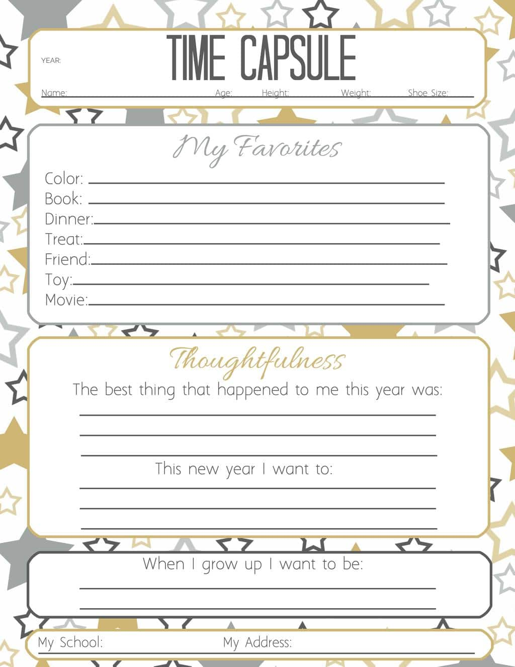 Worksheets Time Capsule Worksheet 12 new years activities for kids tip junkie time capsule questionnaire