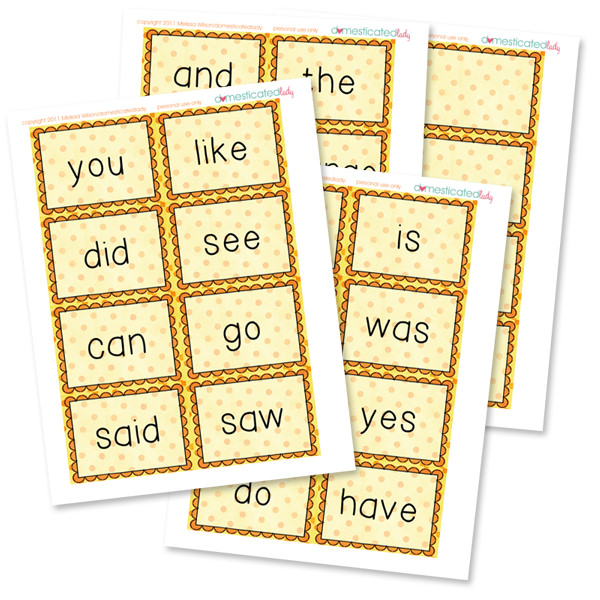 Sight Word Flash Cards free Printable from Tip Junkie