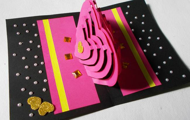 DIY 3D Kirigami Card Making Ideas : How to Make Heart Pop-Up Love Card