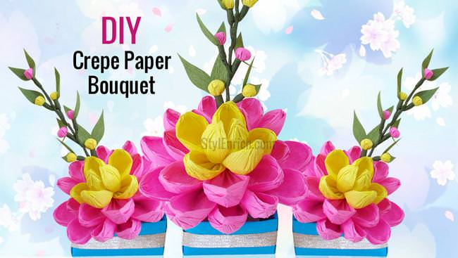 DIY Easy Paper Craft: How to Make a Pretty Crepe Paper Flower Bouquet