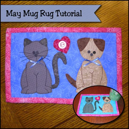 Puppies and kittens mug rug tutorial-jpg