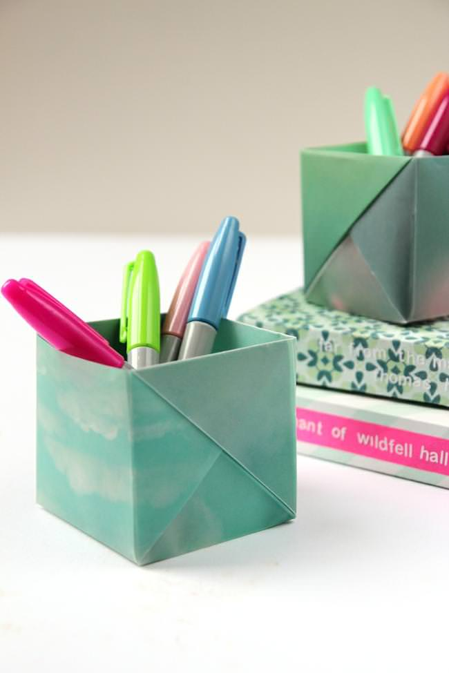 Dress your desk in style with these origami pen holders Diy pencil holder for desk