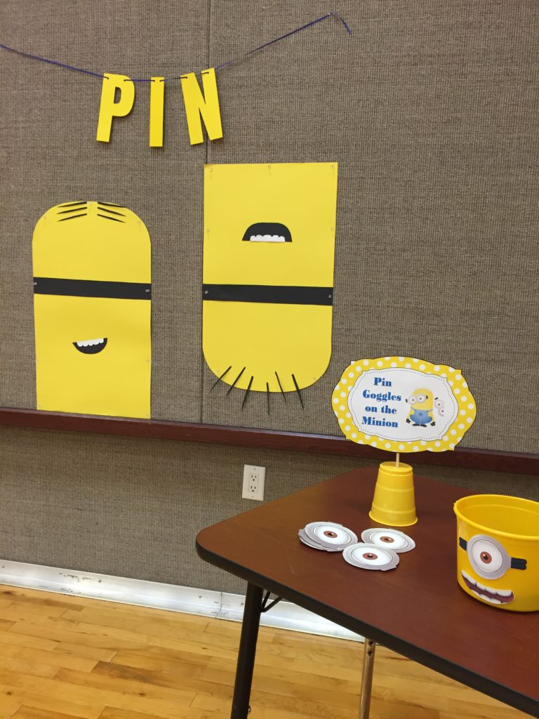 Pin the Googles on the Minion Party Game Sign