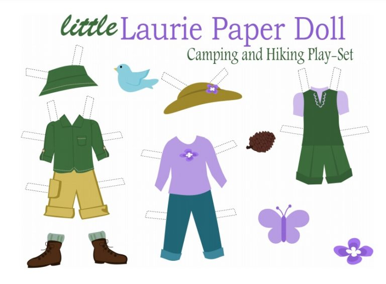camping and hiking paper dolls